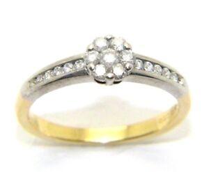 Mujer-18ct-18-Quilates-Oro-amp-Anillo-Pedida-Diamante-Cluster-Talla-RU-M