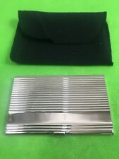 Sheridan Silver Linear Plate Business Card Holder Case New With Tags