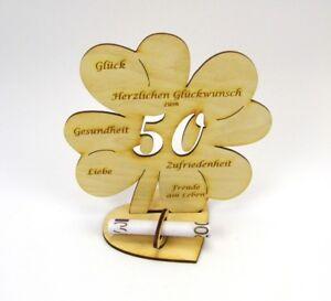 50 Geburtstag Kleeblatt Grosses Geldgeschenk 16cm Gluckwunsch