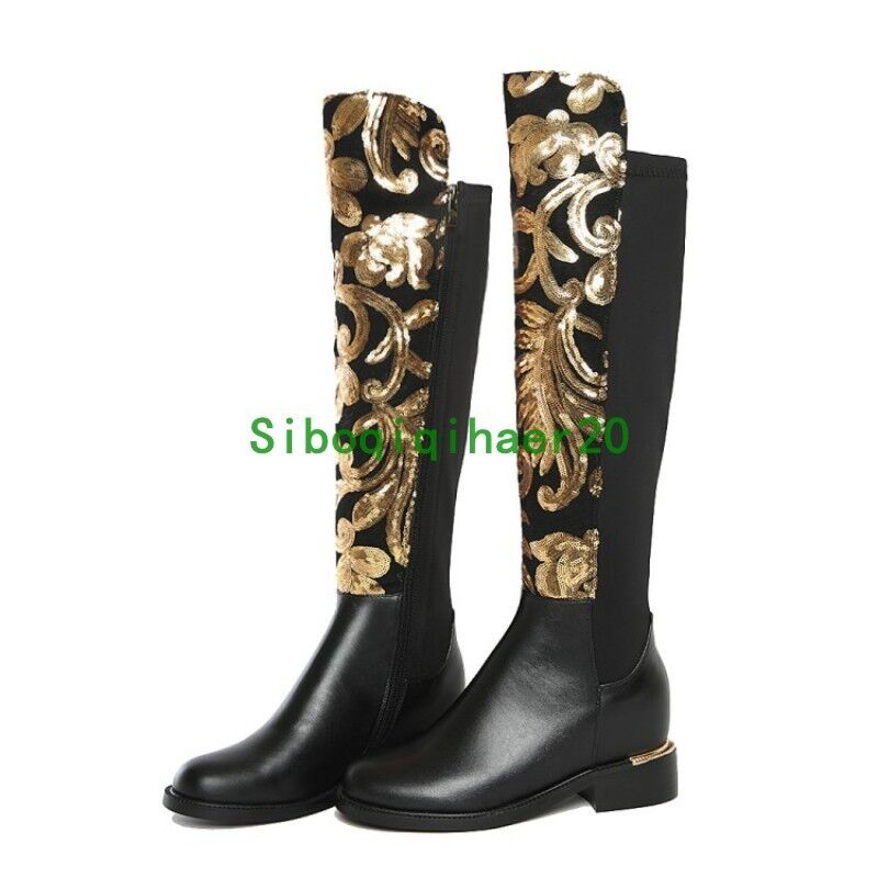 Luxury Womens Genuine Leather Knee High Boots Embroidery Round Toe shoes Sequins