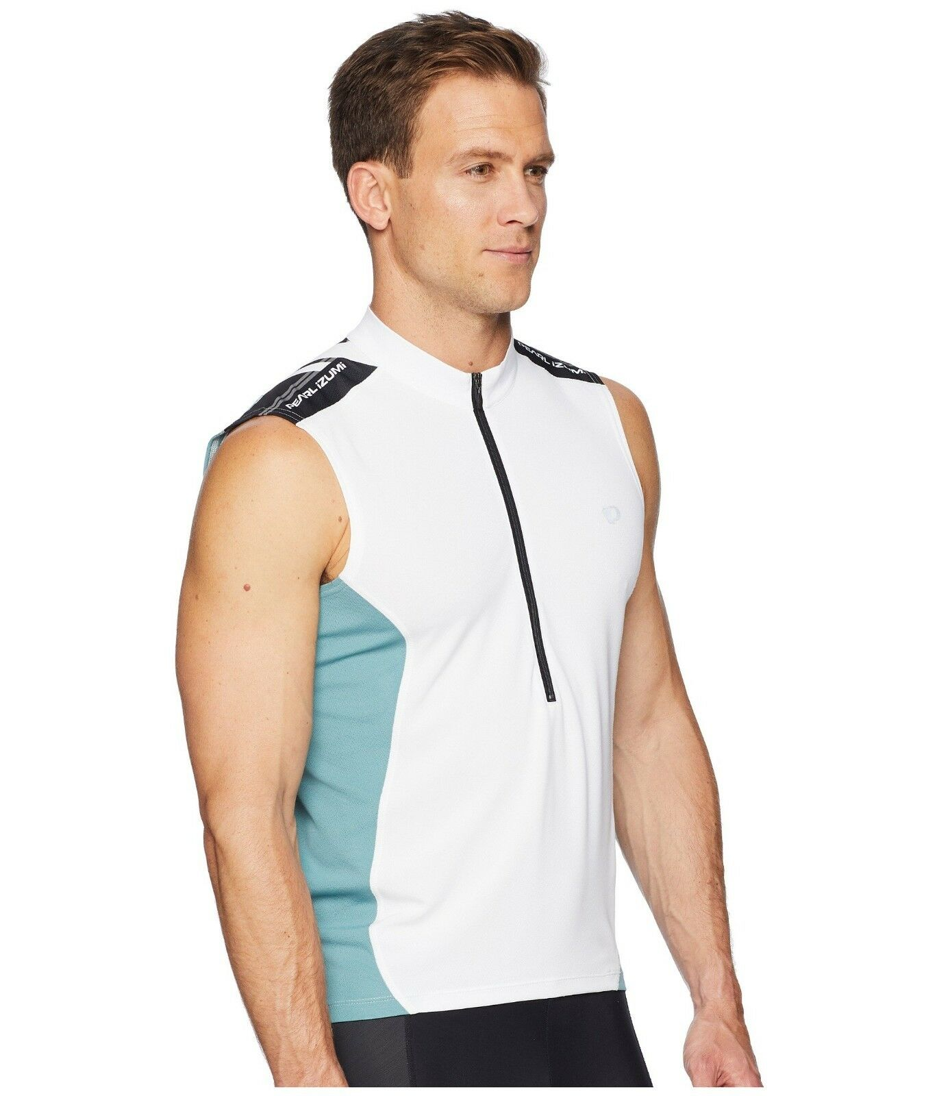 PEARL iZUMi Select Quest Men's Sleeveless Cycling Jersey HalfZipper bianca S NWT