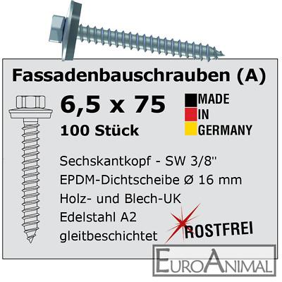 Fassadenschrauben  Edelstahl VA A2 Trapezblech Holz Schrauben 6,5 mm