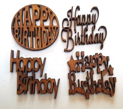 5x WOODEN HAPPY BIRTHDAY SHAPES gift tag craft card make scrapbook embellishment