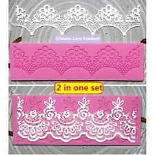 Set of 2 Lace Fondant Embosser Silicone Cake Decorating Mold Sugar Craft DIY Mat