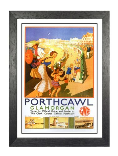 Porthcawl 4 British Railway Travel Advert Old Vintage Retro Picture Poster