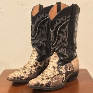 Snakeskin Cowboy Pointed Toe Boots Size