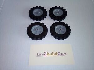 "KNEX WHEELS 4 Large 3.5/"" 3 1//2/"" Tires w//Gray Pulleys-Rims-Hubs Parts//Pieces Lot"
