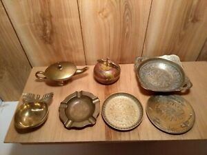 LOT-of-7-vintage-brass-collectibles-trinket-boxes-bow-ashtray-genie-lamp