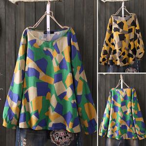 ZANZEA-Femme-Shirt-Impression-geometrique-Manche-Longue-Loisir-Haut-Tops-Plus