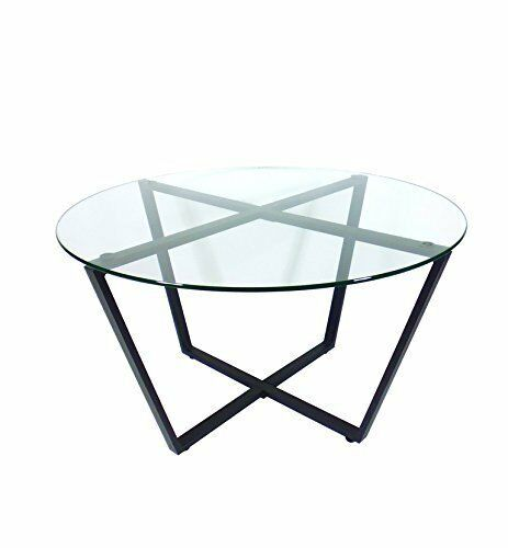 Glass Coffee Table Round Modern Black Metal Base Contemporary