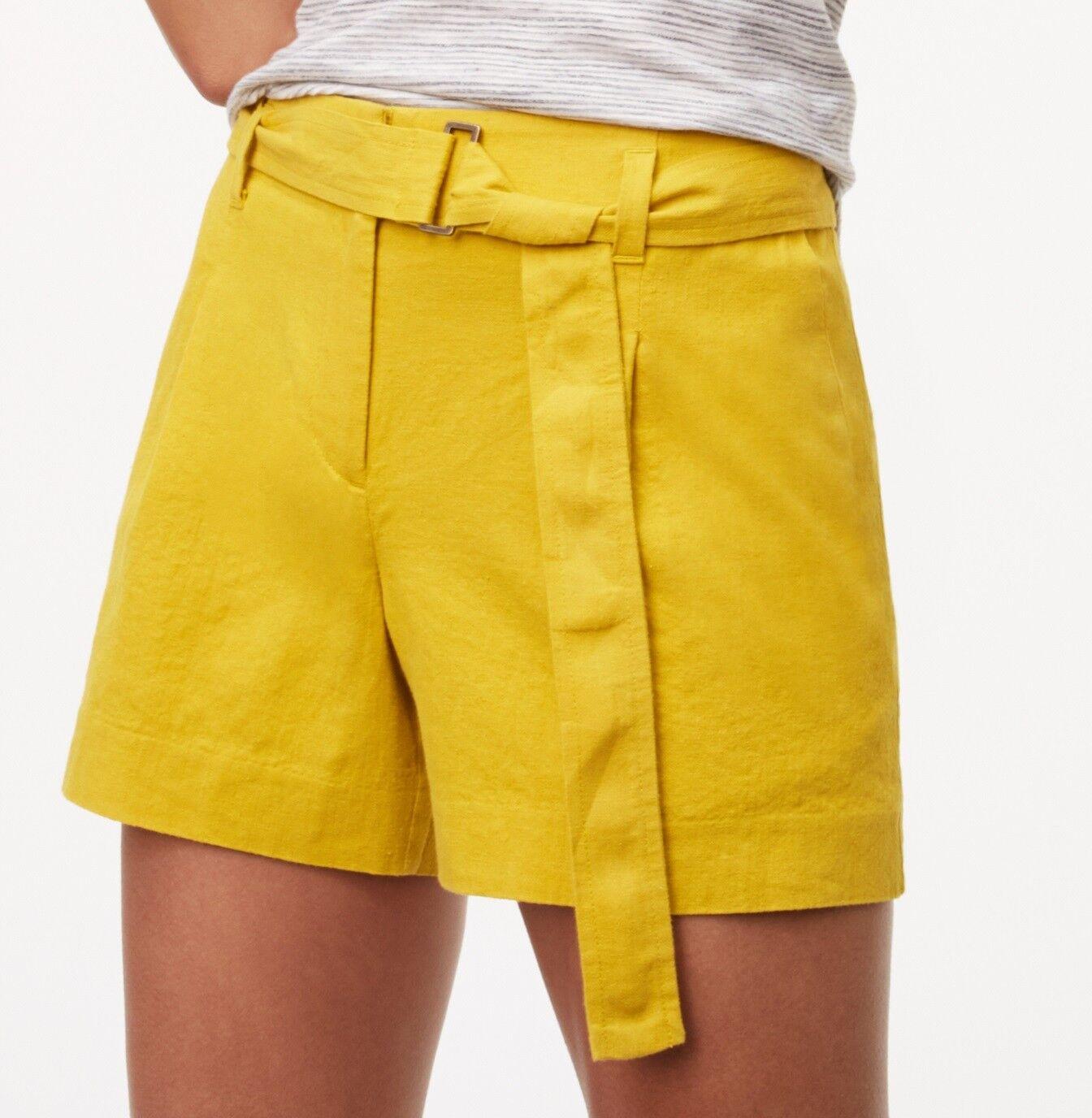 NWT Ann Taylor LOFT Linen Cotton Belted Shorts Size 8