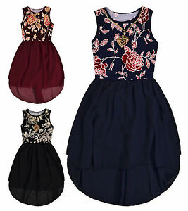 e913108bdf7f Details about Girls Sleeveless Party Dress New Kids Chiffon Skirt Floral  Top Dresses 4 Years