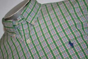 8876-a-Mens-Polo-Ralph-Lauren-Vestido-Camisa-Tamano-Grande-Verde-a-Cuadros
