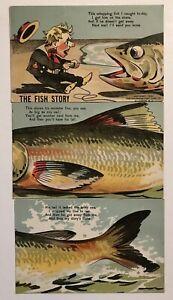 Novelty-034-THE-FISH-STORY-034-3-Postcards-Installment-Puzzle-Set-Vintage-1906-Framed