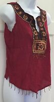 Phool Maroon Red Sleeveless Knit Top Sz M Cotton Geo Print Sequins Fringe