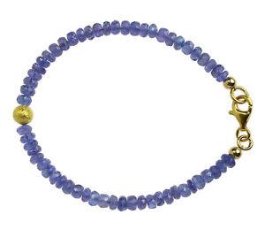 Tansanit-Armband-925-Silber-vergoldet-Armkette-D704