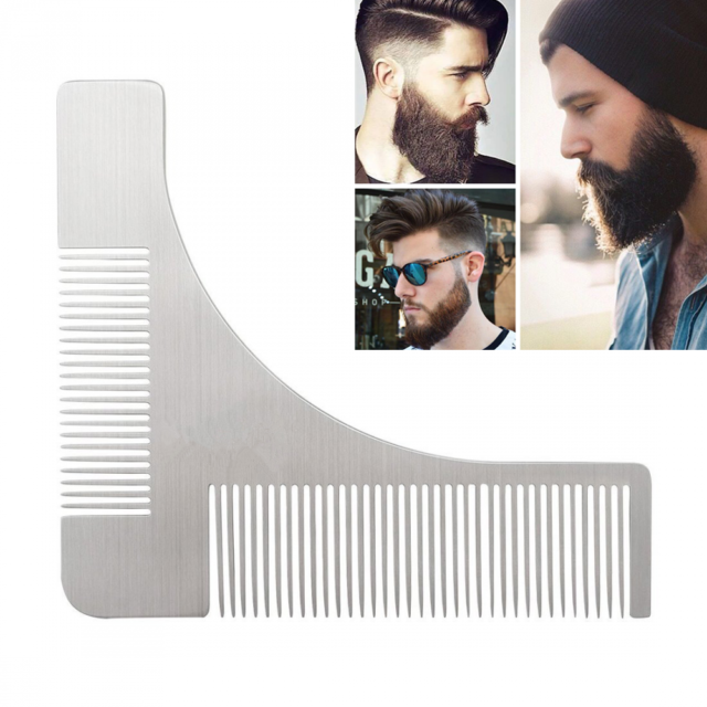 Men Beard Template Comb for Shaping & Styling Stainless Steel Shaper Tool