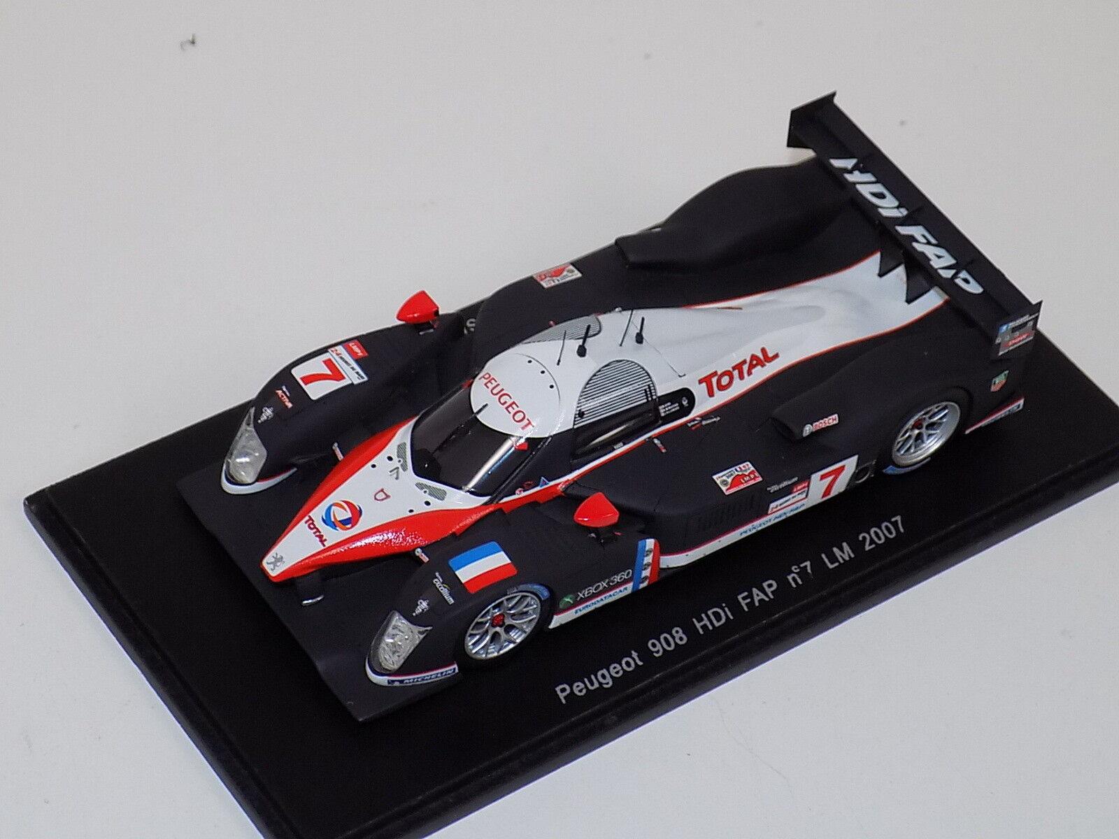 forma única 1 43 Spark Peugeot 908 HDi FAP coche  7 7 7 2007 24 horas de Le Mans S1272  artículos de promoción