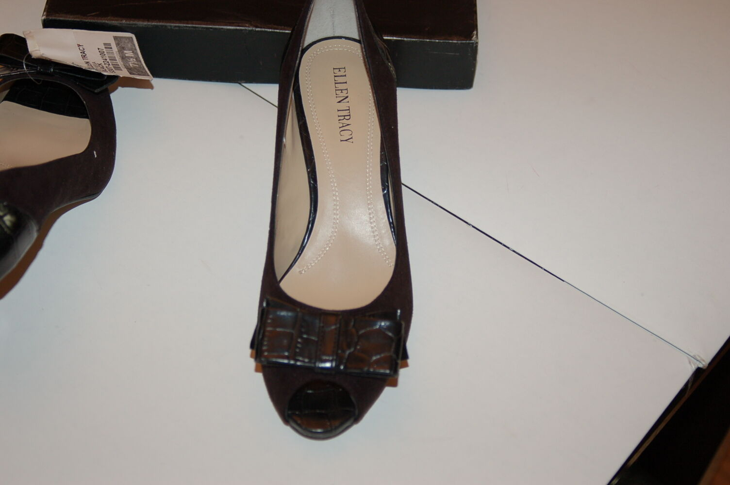 NWB ELEGANT ELLEN TRACY SHOE BLACK SZ.7,5 OPEN TOE SHOE TRACY RET.$99 bd2908