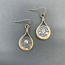 Antique Silver Shotgun Shell 12 GA Design Rhinestone Drop Dangle Style Earrings