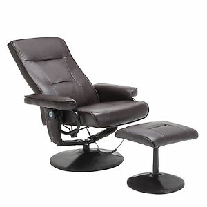 Brown Leather Massage Recliner Chair 8 Motor Leisure with ...