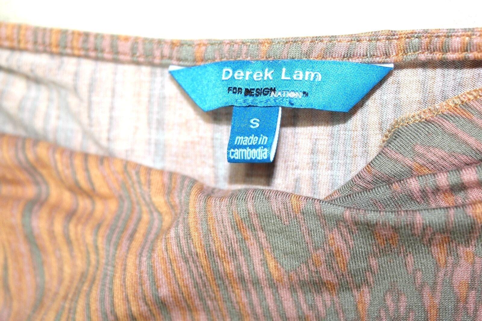 Derek Lam - S - Nuovo senza Etichetta - - - Arancione & Grigio Astratto Watercolore 549eef