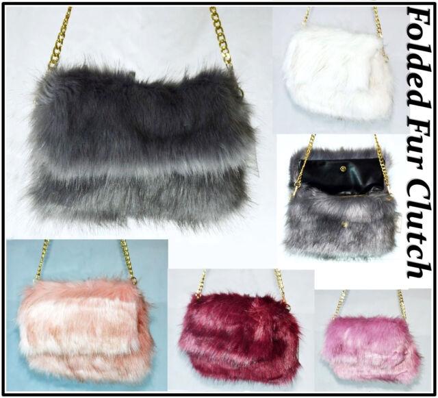 Faux Fur Fluffy Clutch Bag