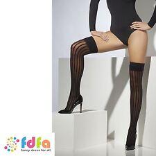 BLACK SHEER VERTICAL STRIPE HOLD UPS STOCKINGS ladies accessory womens hosiery