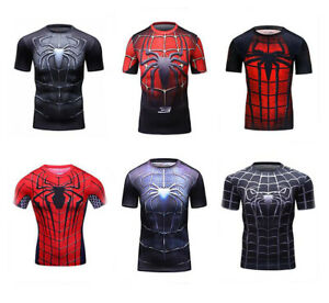 Mens-Marvel-Compression-Spiderman-Short-T-Shirt-Running-Workout-Gym-Cool-Dry-Fit
