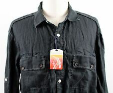 NWT Tommy Bahama Jeans L/S Linen Button Up Shirt MENS XL Black TD30370