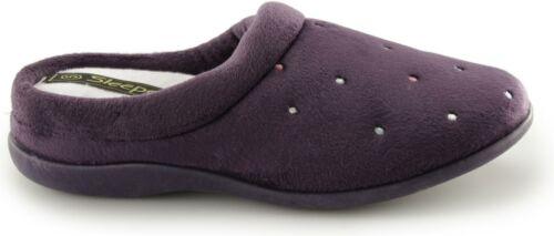 Sleepers CHARLEY Womens Ladies Velour Slip On Comfy Soft Fleeced Mule Slippers