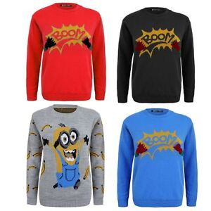Kids-Girls-Boy-Knitted-Banana-Minion-Boom-Christmas-Xmas-Novelty-Jumper-Top-2-14