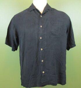 Tommy-Bahama-Mens-Casual-Hawaiian-Shirt-Medium-Black-Embossed-Palm-Trees