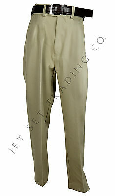 BOYS SAND DRESS PANTS FLAT FRONT SLACKS WITH BROWN BELT Sizes 4-20