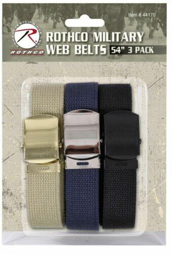 Web Belt 3-Pack THREE Cut-To-Fit Khaki Navy /& Black ROTHCO 44170 SALE