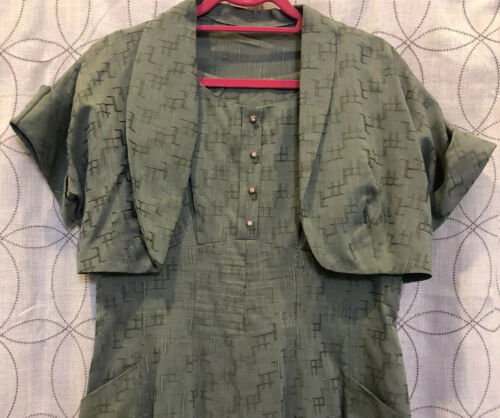Vintage 40's/50's Embroidered Green Dress & Croppe