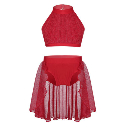 Girls Lyrical Dance Dress Outfit Kids Mock Neck Crop Top+Bottoms Set Dancewear