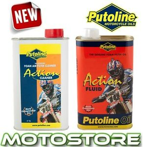 PUTOLINE-ACTION-FLUID-MOTORCYCLE-FOAM-AIR-FILTER-OIL-amp-CLEANER-TWIN-PACK-1L