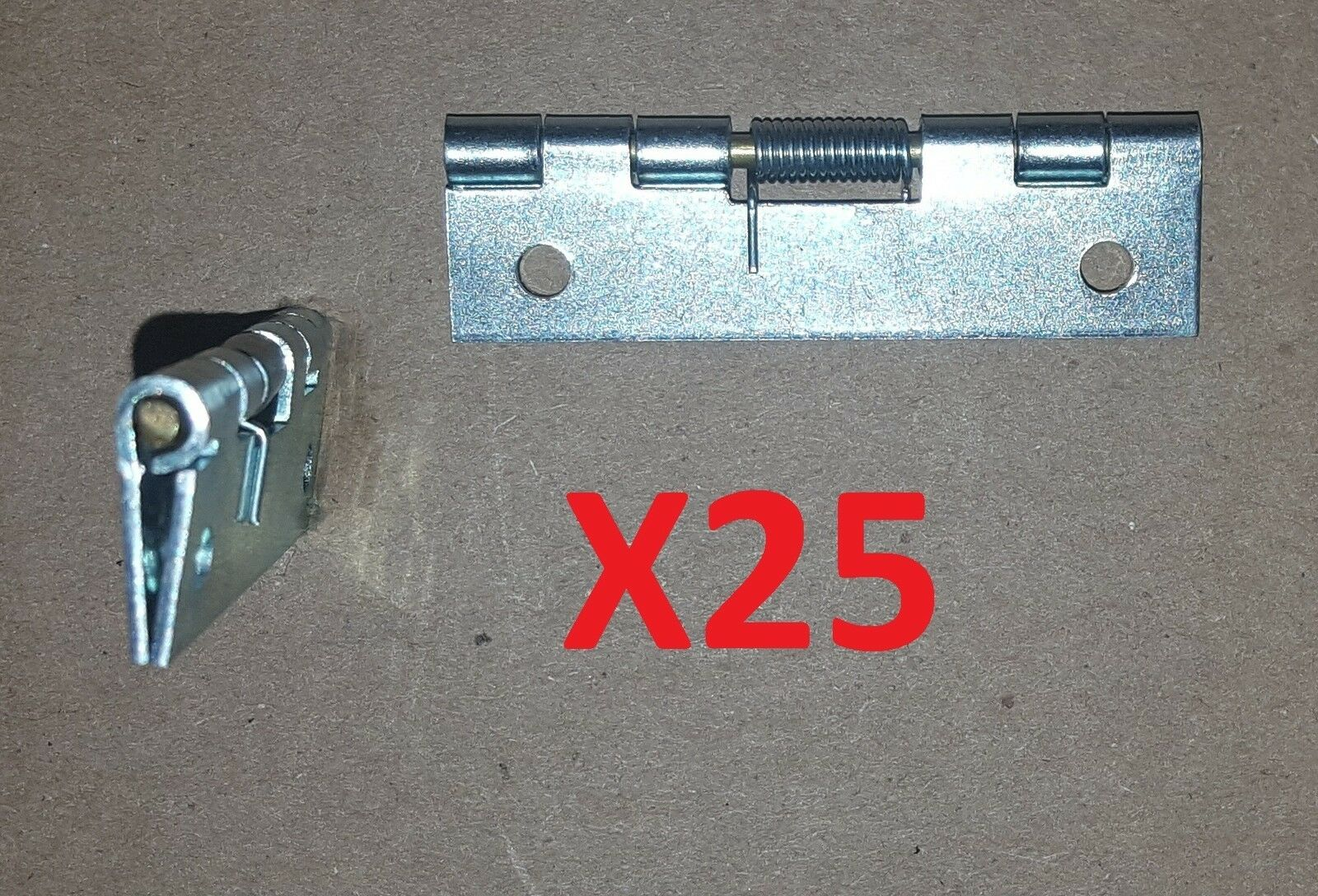 25 pc Zinc Plated Spring Hinge to CLOSED 2 x 1 Brass Pin HOLE Cabinet Door Craft