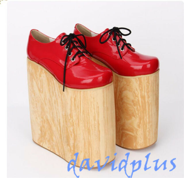 68fae9350c8 Womens Cospaly Punk Platform Super High Heel Creeper Pumps Lace Up Lolita  Shoes