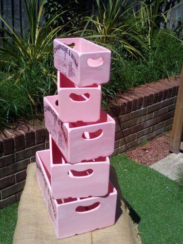 Magnifique Rose peint en bois Boîte de rangement//caisse avec champagne et vin design.