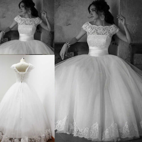 Simple White//Ivory Cap sleeve Wedding Dresses Lace//tulle Bridal Wedding Gown