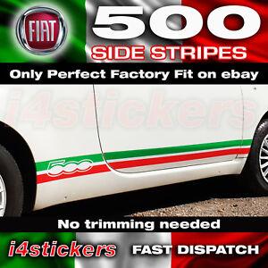 Fiat-500-595-Drapeau-Italien-Rayures-sur-les-cotes-Decals-Graphique-Autocollants-ajustement-parfait