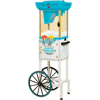 """Vintage Series 48"""" Snow Cone Machine Cart, Electric Full-Size Shaver Ice Crusher"""