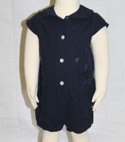 JACADI Girl/'s Loupage2 Navy Blue Linen Butterfly Jumpsuit Size 6 Months NWT $62