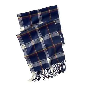 NWT OLD NAVY MENS NAVY FLANNEL PATTERNED WINDOWPANE FRINGE SCARF ONE SIZE