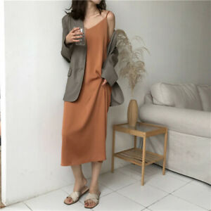 Women-Korean-Maxi-Dress-V-Neck-Sling-Simple-Dress-Solid-color-Sleeveless-D-AA