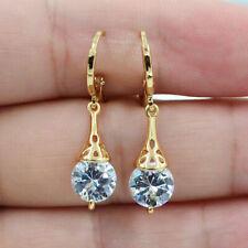 Round 18K Gold Filled Zircon Topaz Women's Wedding Earring - White