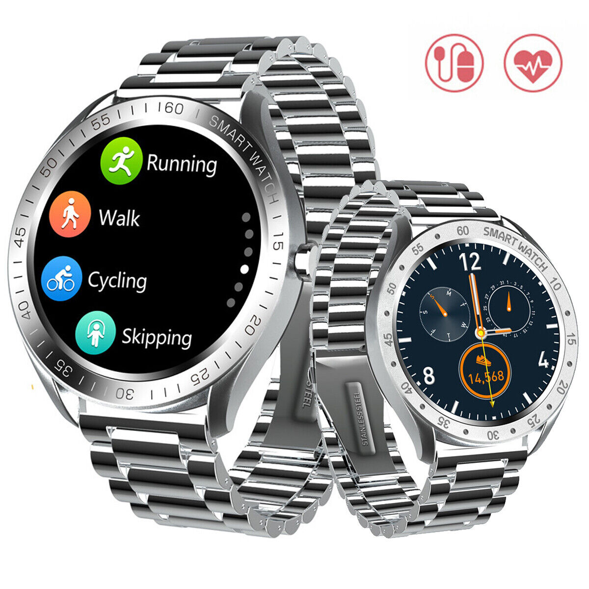 Smartwatch Sports Tracker Bluetooth Fitness Bracelet Heart Rate Monitor for Men