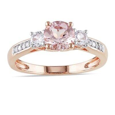 Miadora 10k Rose Gold Morganite and Created White Sapphire Diamond Accent 3-ston